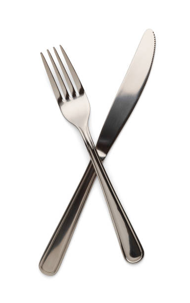 knife and fork - table knife stock photos and pictures