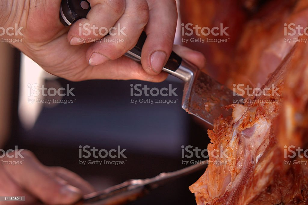 Knife and ham royalty-free stock photo