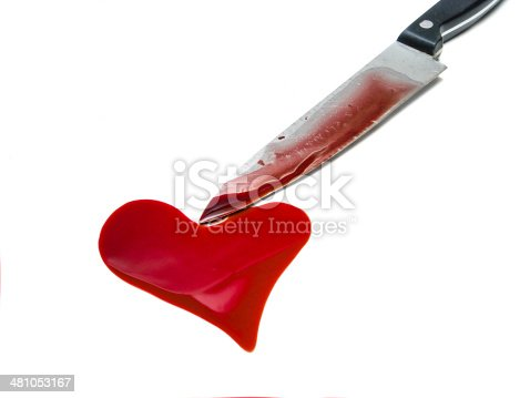 istock Knife and heart shaped blood spot 481053167