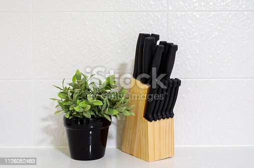 Knife Block and Mint Plant and modern kitchen bench as decoration