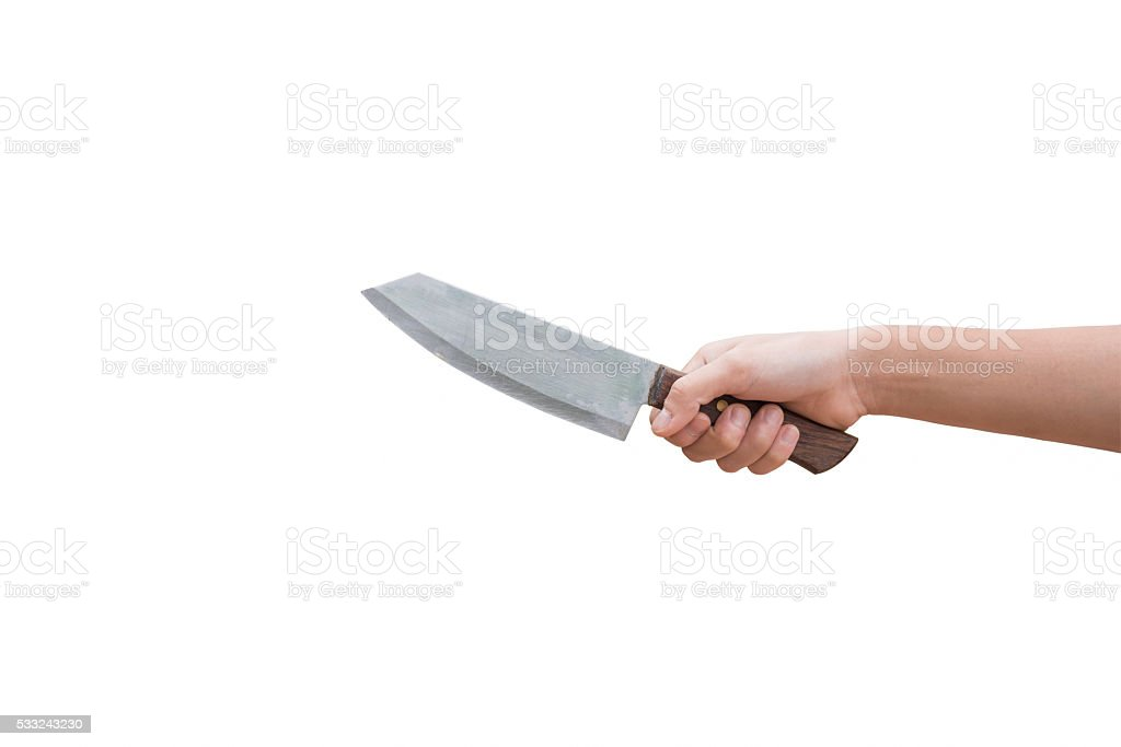 Knife in hand ready to stab isolated on white background stock photo