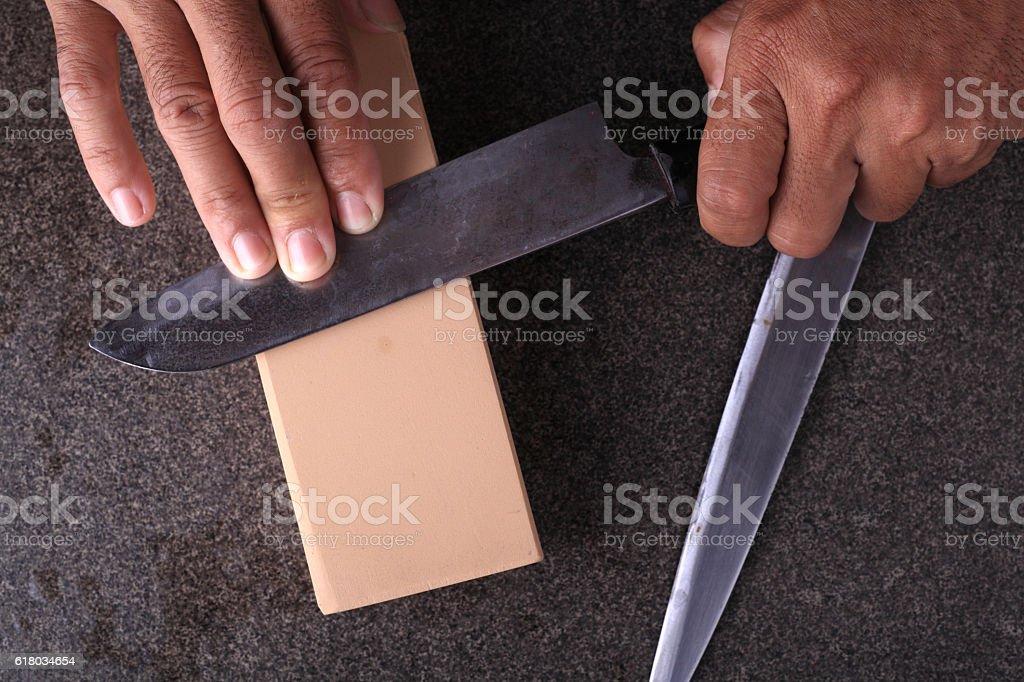 Knife sharpener stock photo