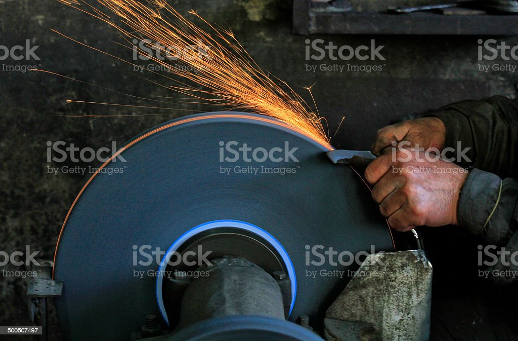 Knife Sharpening stock photo