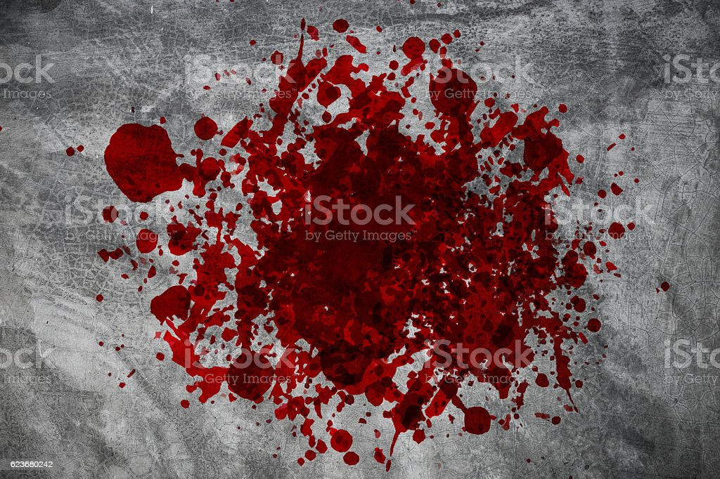 knife with grunge of blood on the concrete floor stock photo