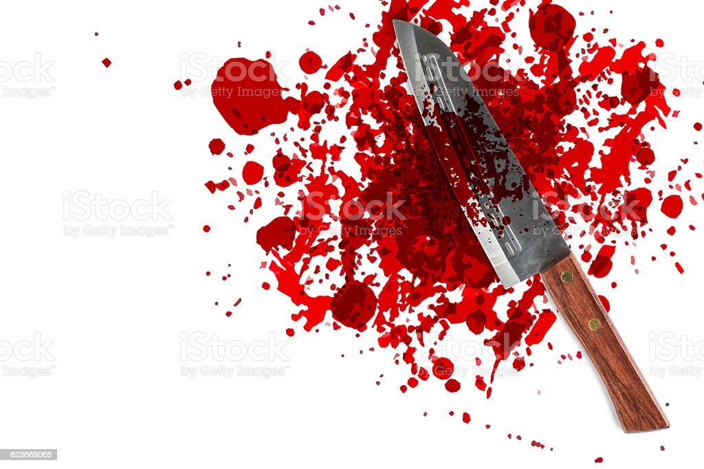 knife with grunge of blood with space for text stock photo