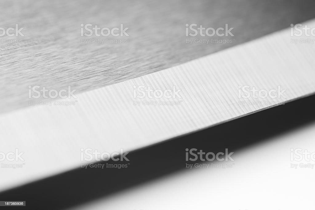 Knife-edge of sharpened professional ceramic chef's knife (XXXLarge) stock photo