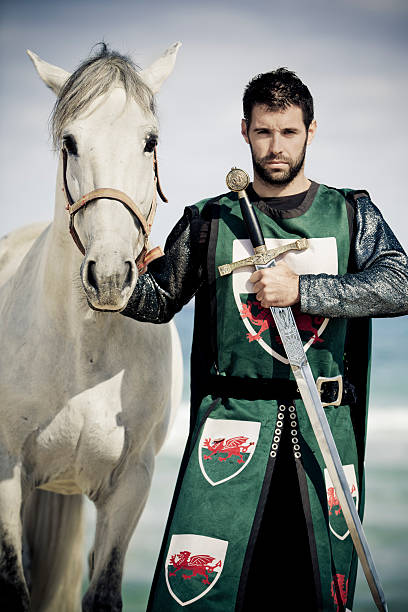 knight an white horse - knight on horse stock photos and pictures