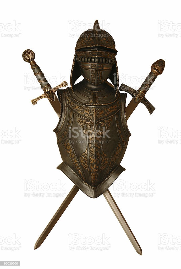 Knight  and swords stock photo