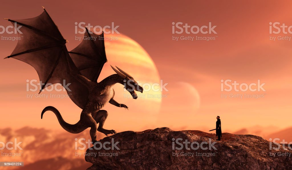 Knight and the dragon stock photo