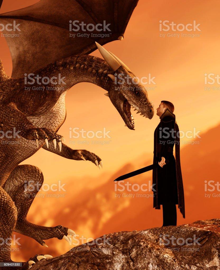 騎士とドラゴン ストックフォト