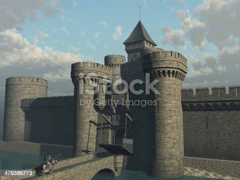 Castle drawbridge being lowered and portcullis raised to admit returning armoured knight on warhorse