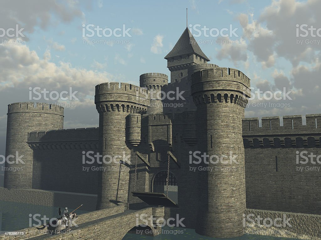 Knight approaching castle gate stock photo