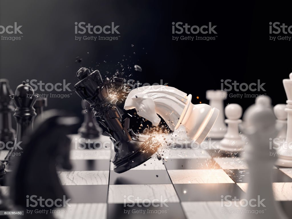 Knight chess attack to win the race stock photo