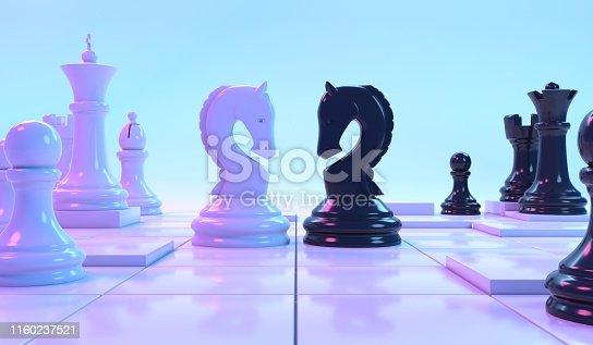 Two knight chess pieces under blue and pink lighting facing each other with other chess pieces surrounding them
