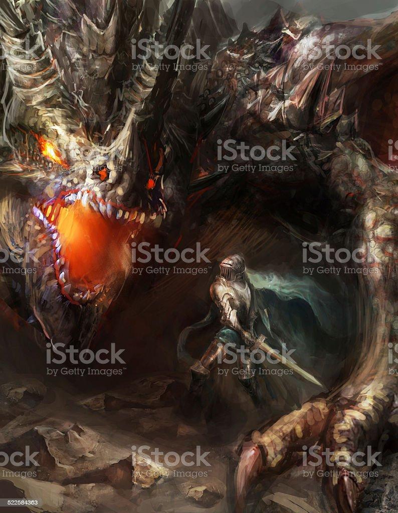 騎士戦うドラゴン ストックフォト