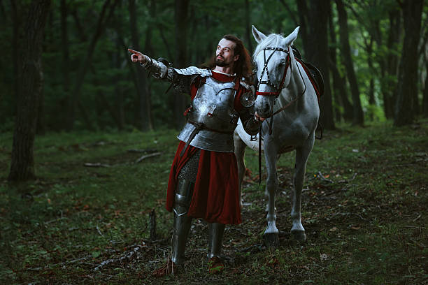 knight in forest - knight on horse stock photos and pictures