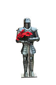 Knight in heavy metal armor with poppy flowers isolated on white background