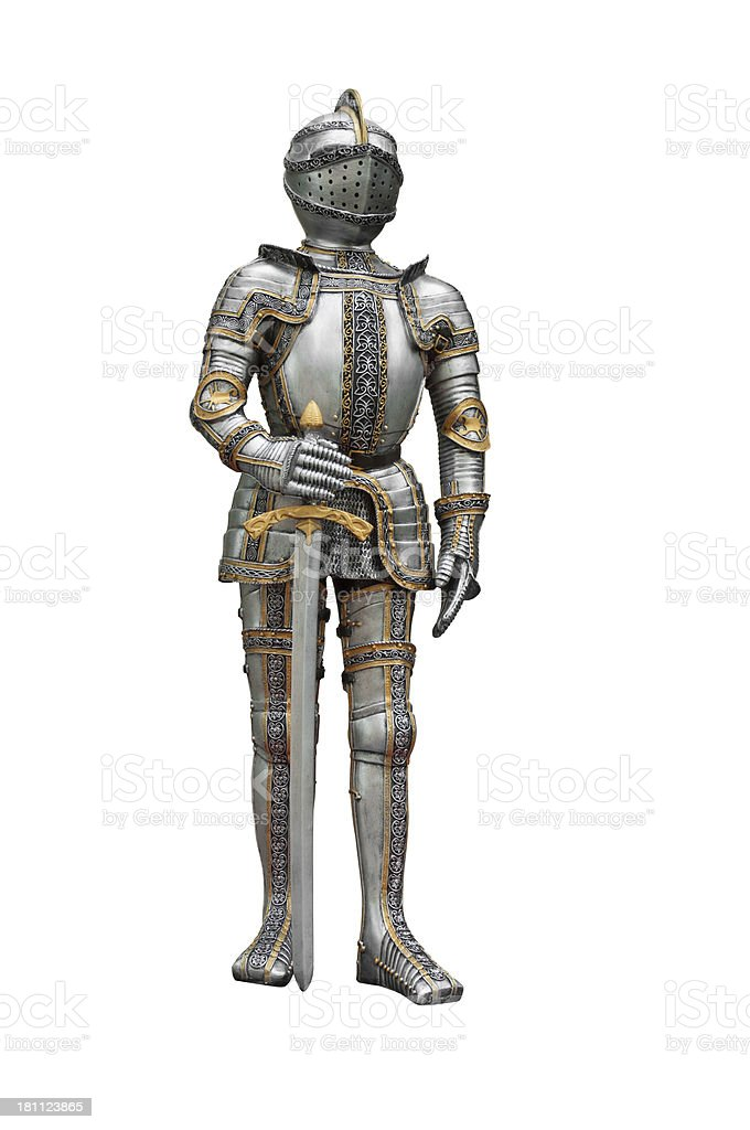 Knight in suit of armor stock photo