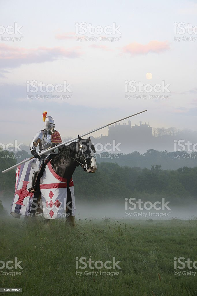 Knight in the mist stock photo