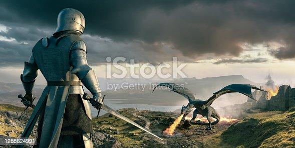 istock Knight Looks Down On Huge Dragon Breathing Fire Near Castle 1288624991