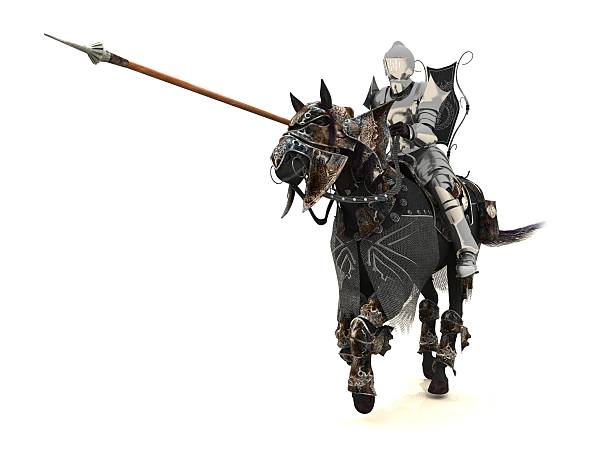 Knight on charger stock photo