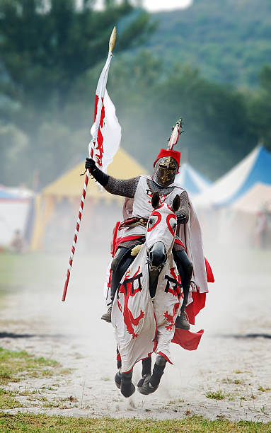 knight on flying horse - knight on horse stock photos and pictures