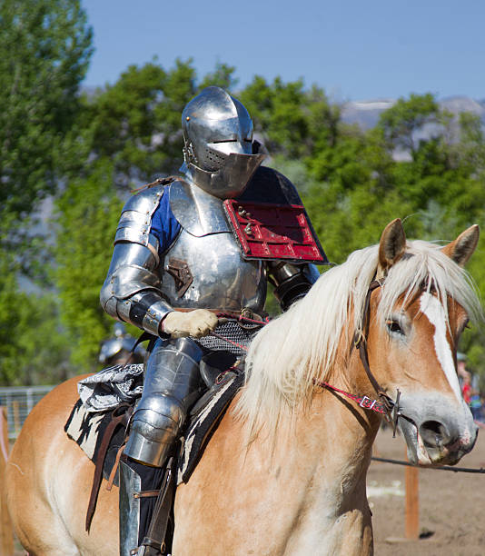 knight on horseback - helmet visor stock photos and pictures