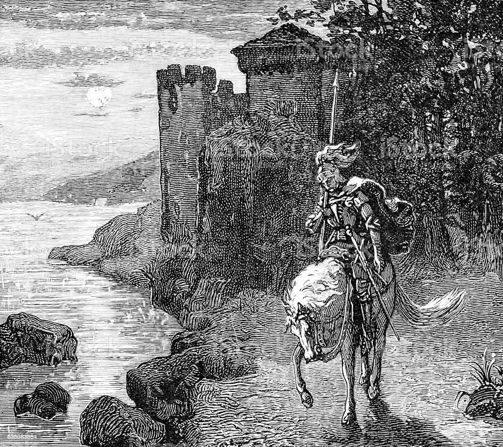 Knight (Sir Lancelot) on horseback rides from castle stock photo