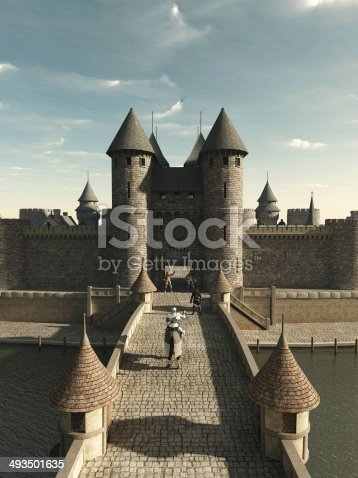 Illustration of a Medieval knight riding to the castle gate, 3d digitally rendered illustration.