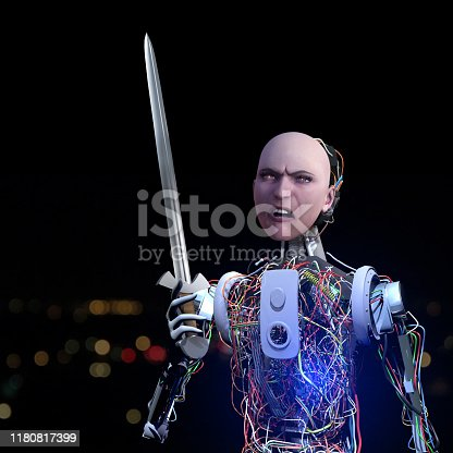 Hooligan robot is holding a sword.  In the future, artificial intelligence will become even more intelligent. Reasoned robots can cause rebellion in the future. They may participate in protest actions.