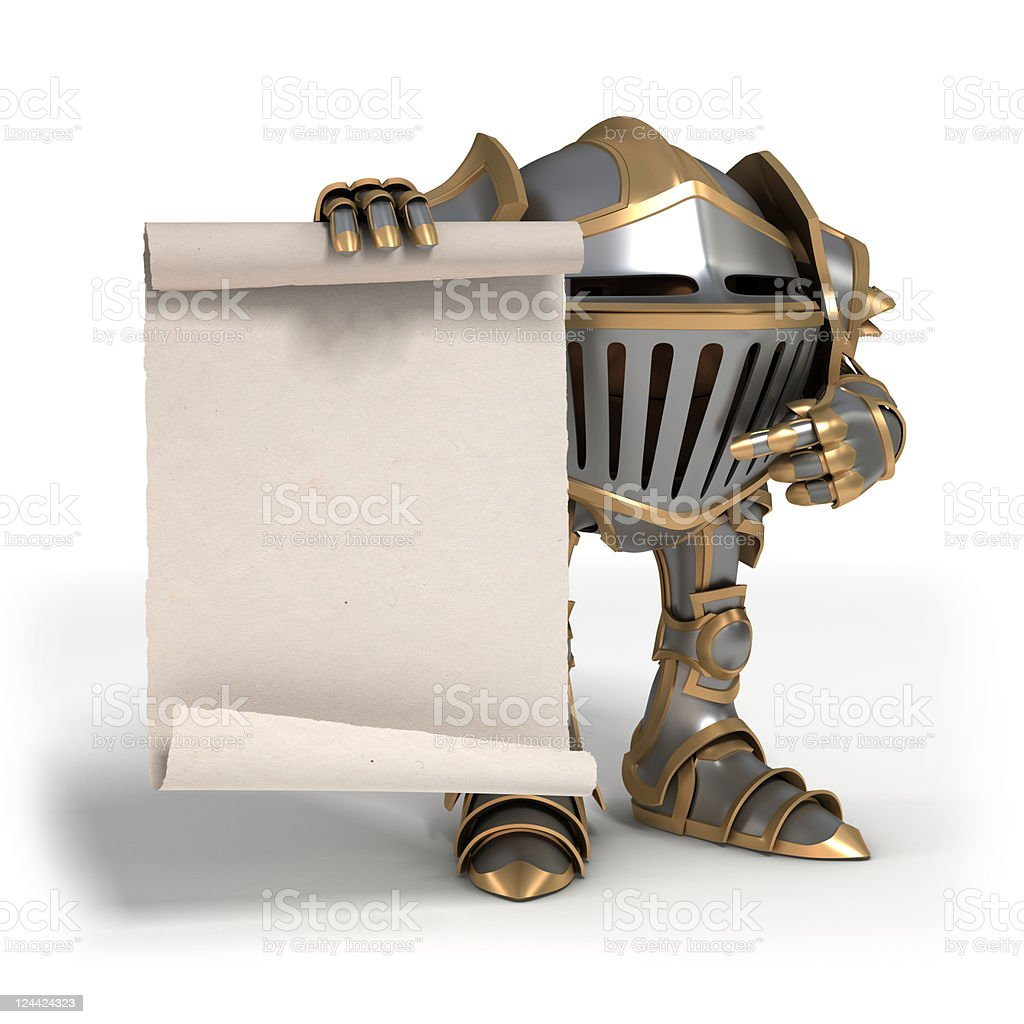 Knight with a scroll royalty-free stock photo