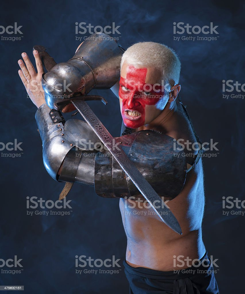 Knight with a sword stock photo