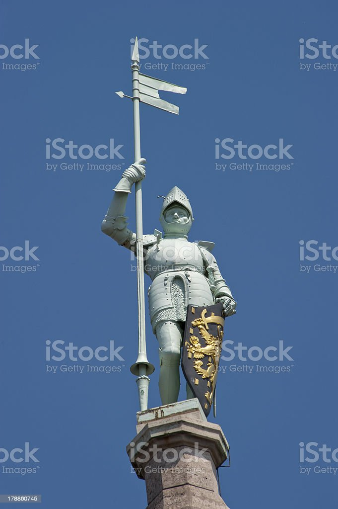 Knight with armor in closeup royalty-free stock photo