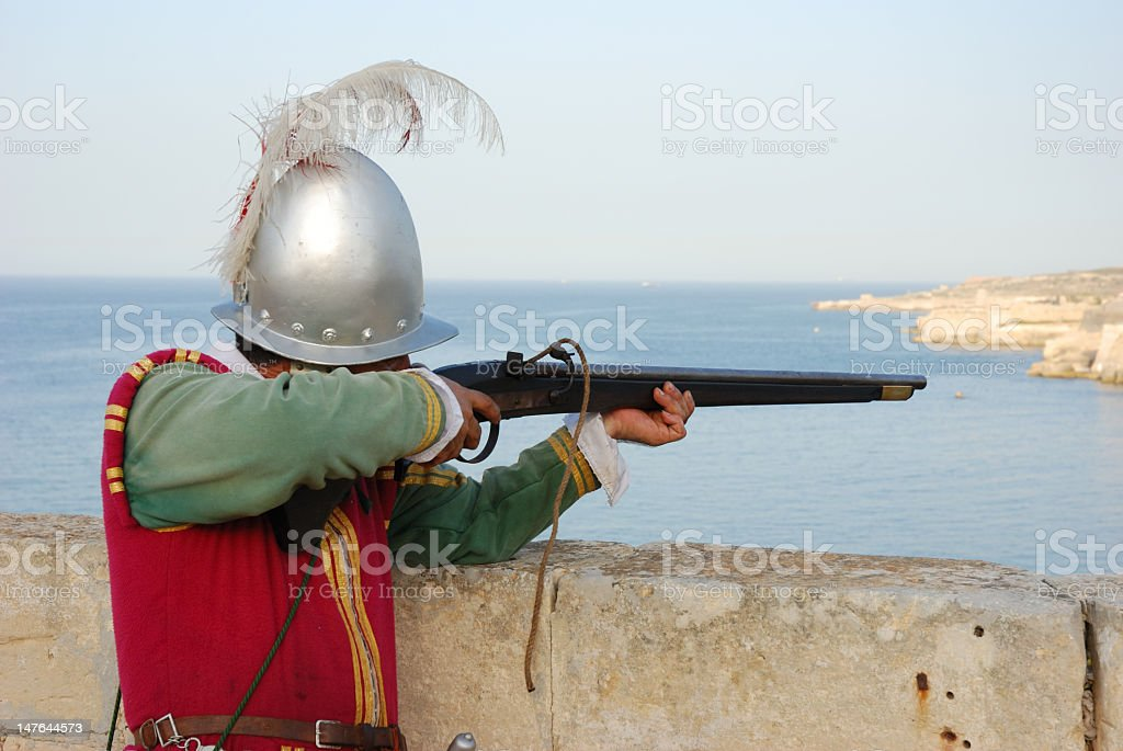 knight with rifle stock photo