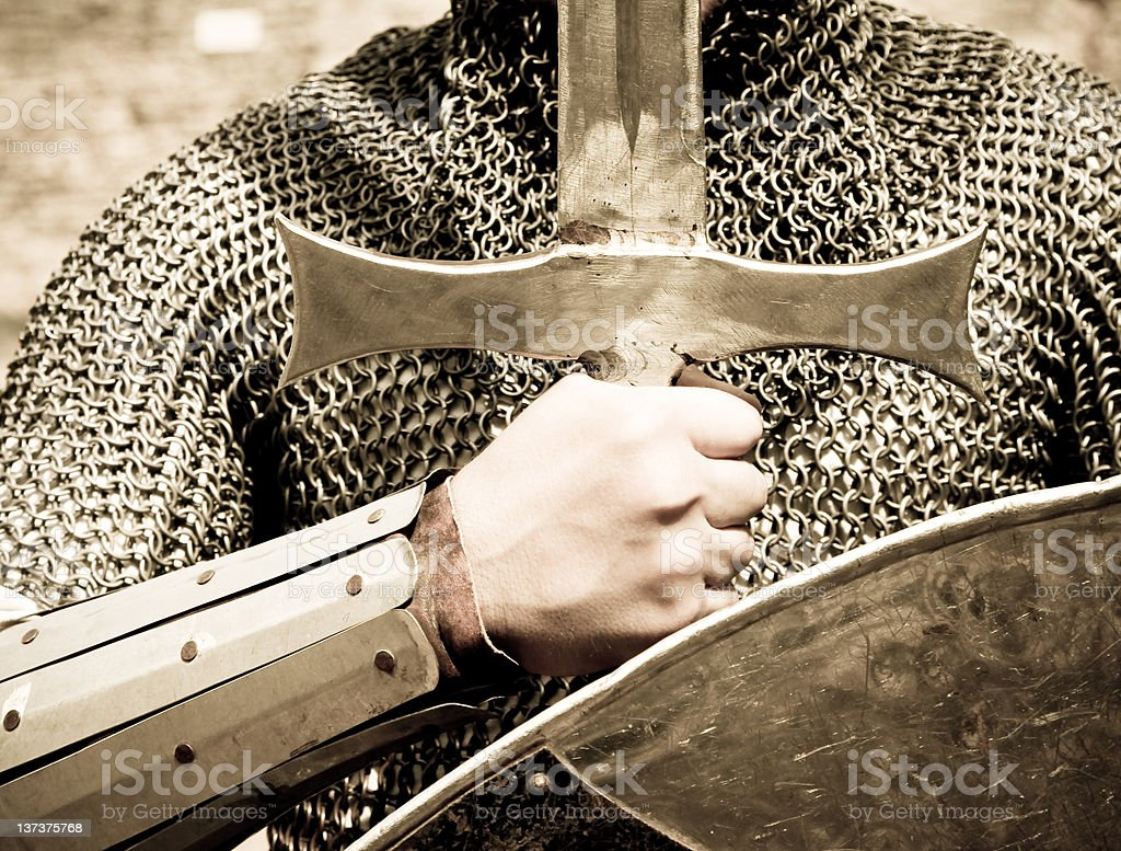 Knight with sword and shield royalty-free stock photo
