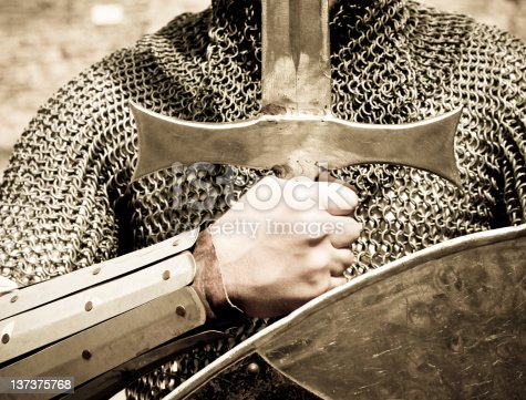 istock Knight with sword and shield 137375768
