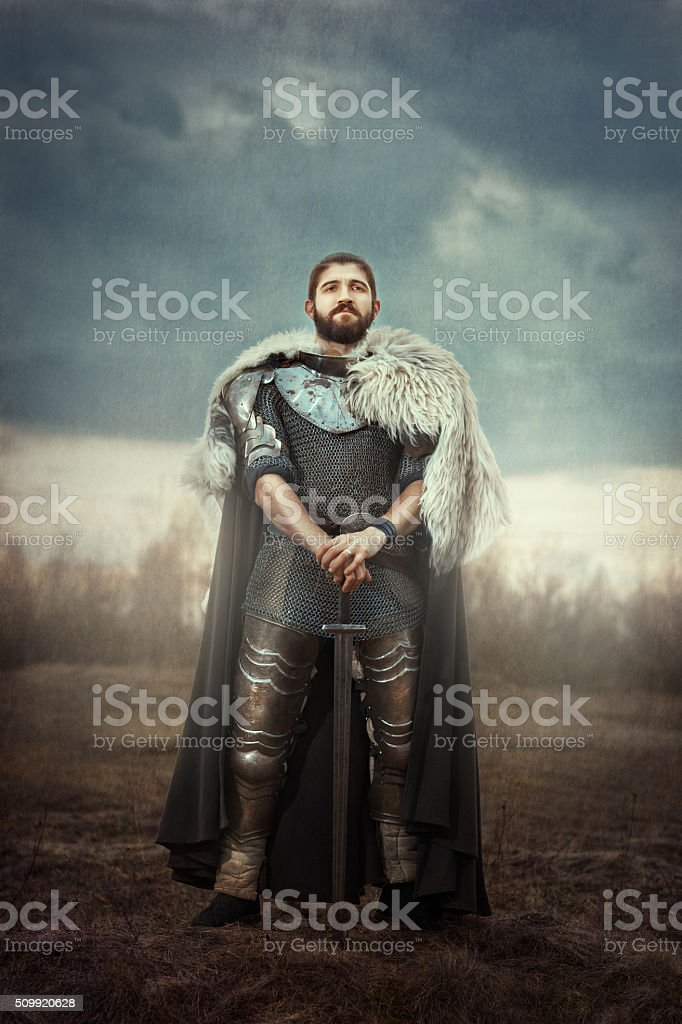 Knight with sword in a field. stock photo