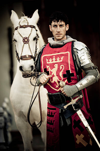 knight with white stallion - knight on horse stock photos and pictures