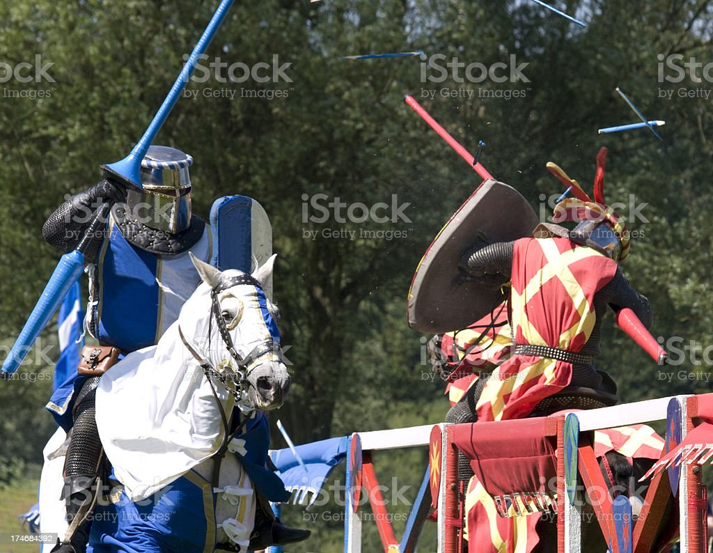 Knights clash at a Joust stock photo