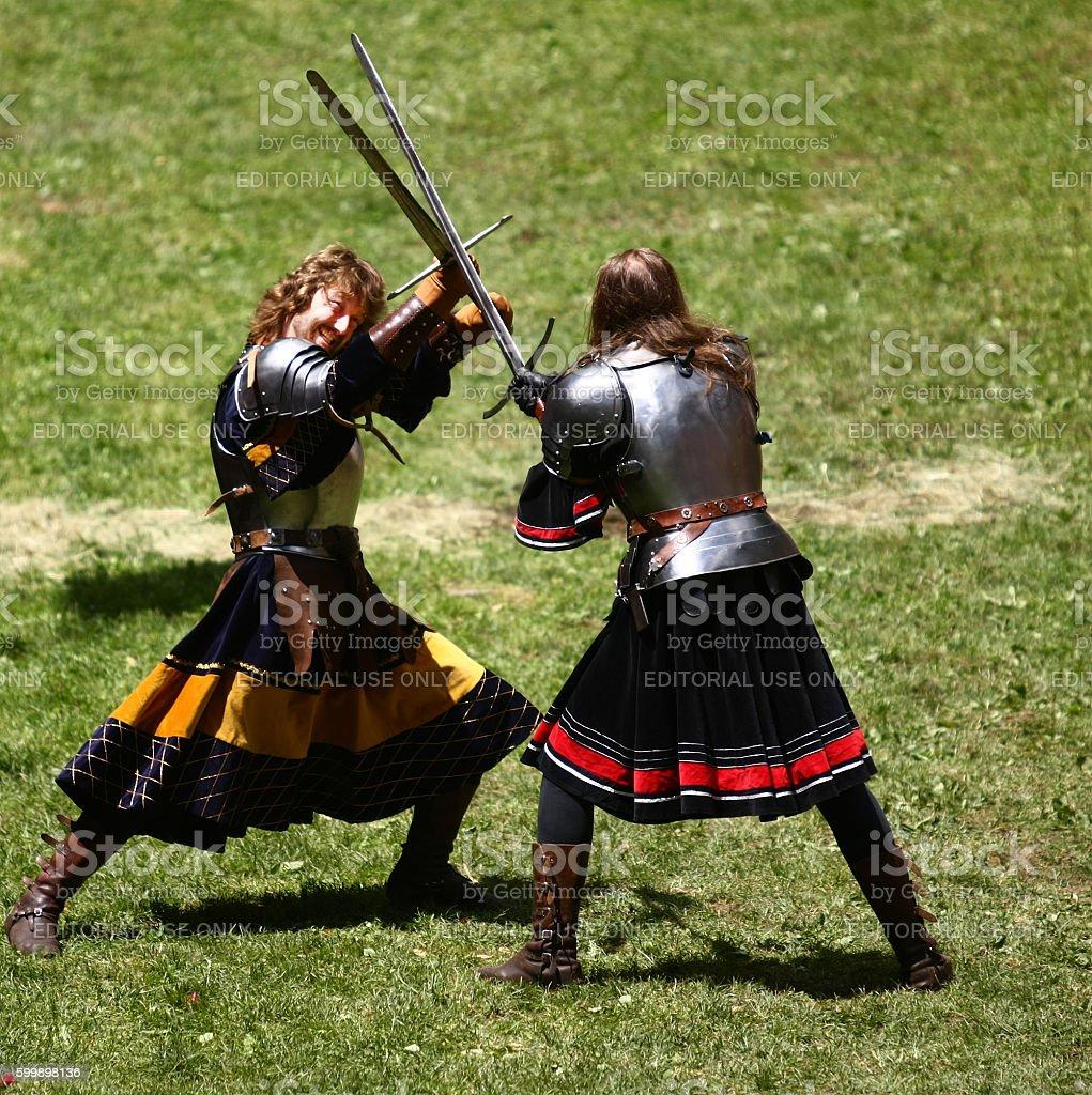 Knight's confrontation stock photo