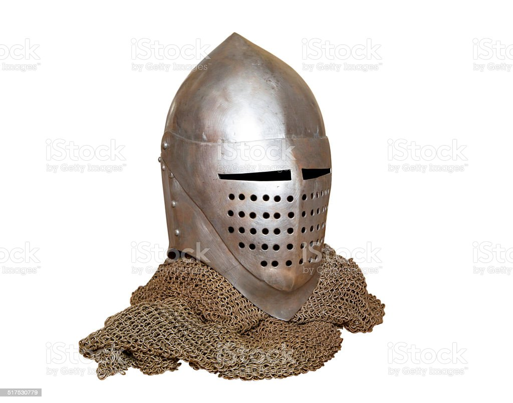 knight's helmet and chainmail royalty-free stock photo