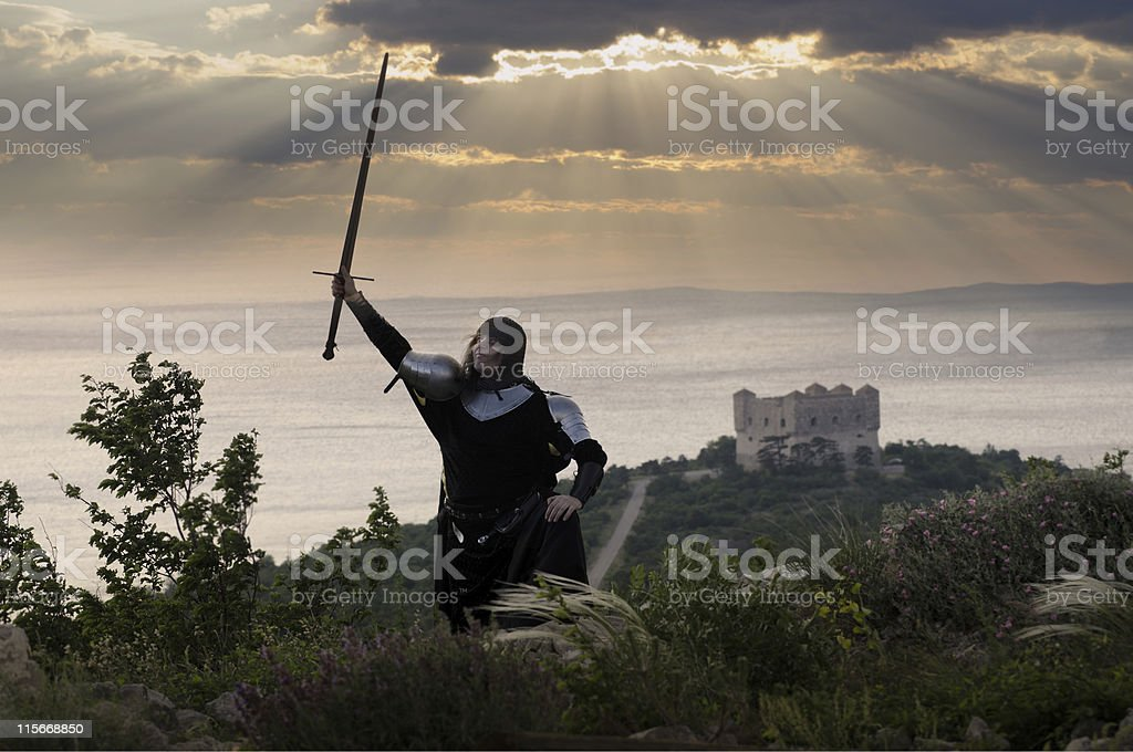 Knights oath in the evening light stock photo