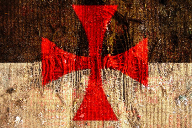 knights of templar old flag on grunge textile fabric with displace - the crusades stock photos and pictures