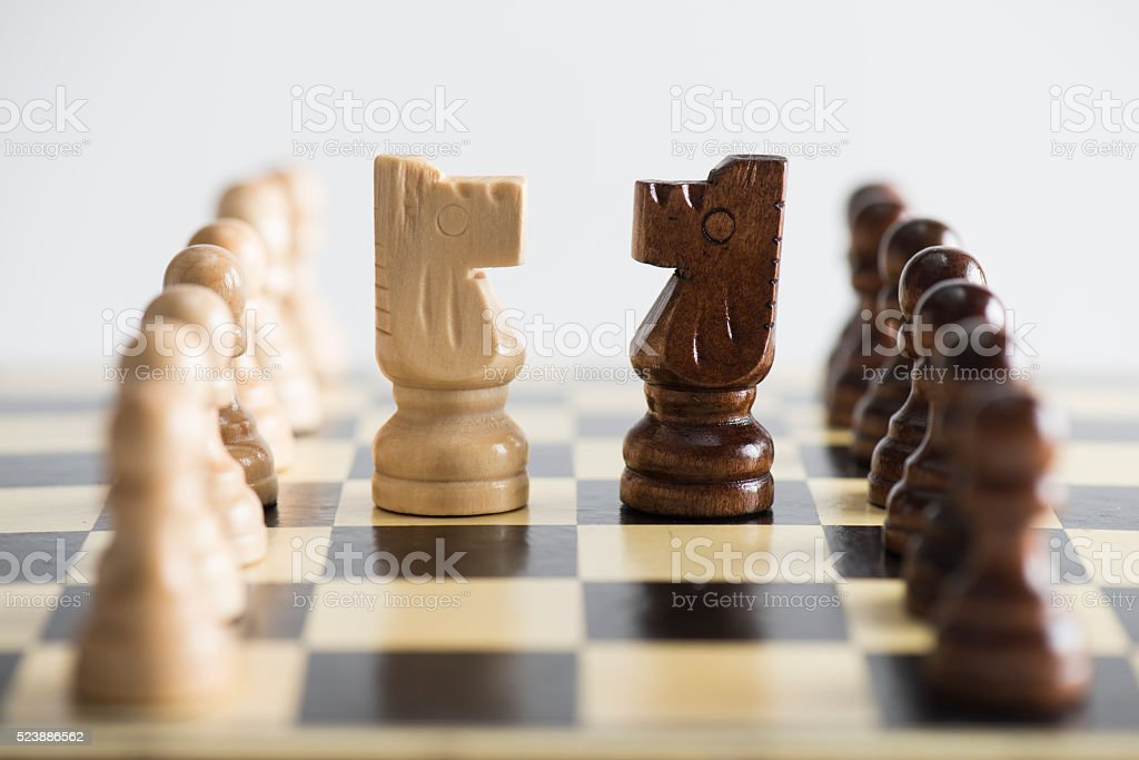 Knights on a Chess Board stock photo