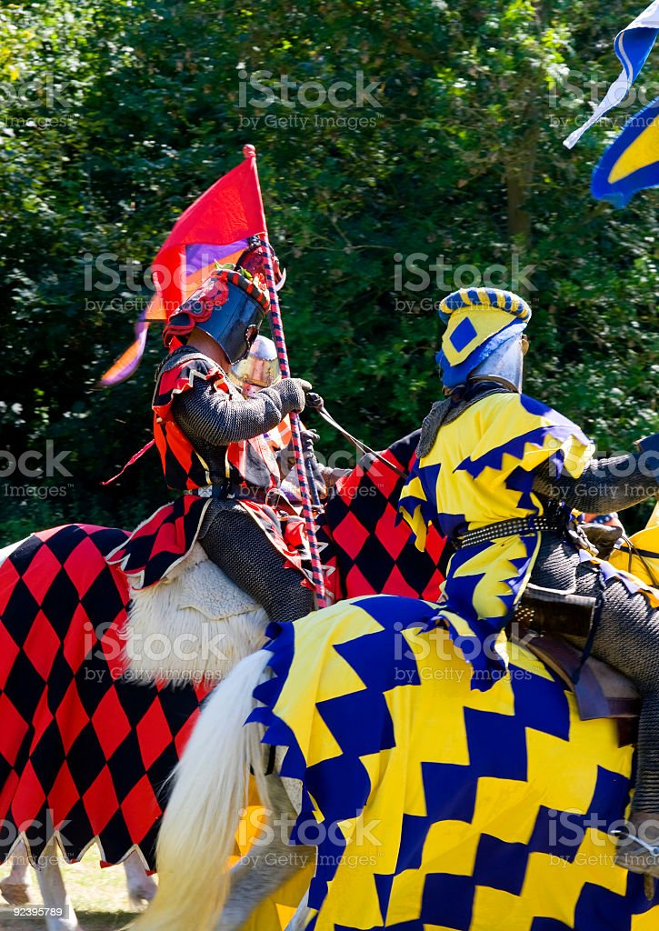 Knights preparing to tourney stock photo