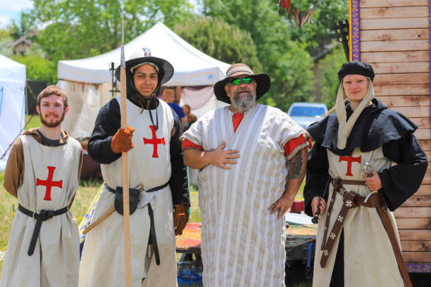 knights templar costumed actors at a renaissance fair - knights templar stock pictures, royalty-free photos & images