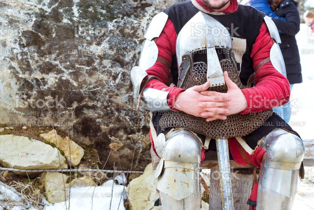 Knight's tournament at festival of Shrovetide stock photo