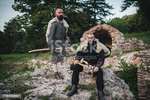 istock Knights with axes ready for the fight 1164556941