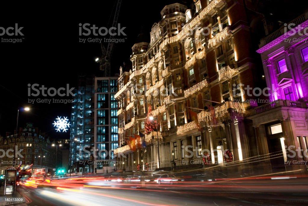 Knightsbridge high street, London, at night stock photo