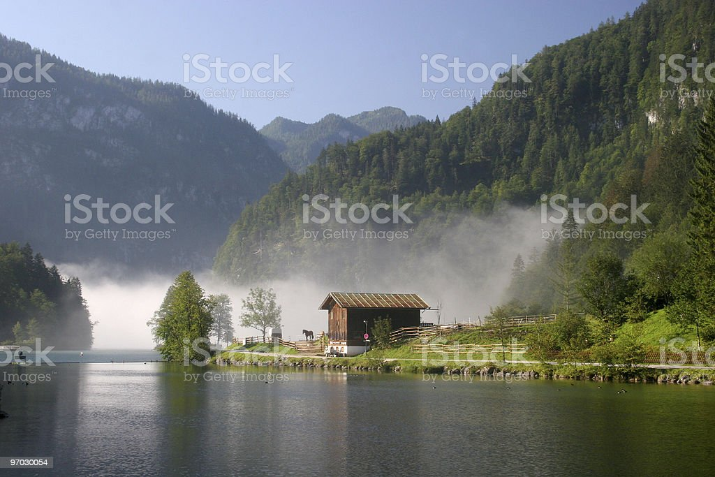 Königssee im Morgennebel royalty-free stock photo